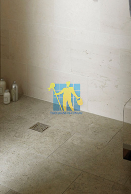 limestone tiles shower moleanos blue Brisbane cleaning