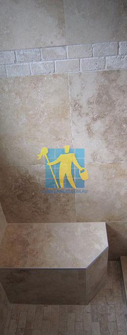 travertine tiles floor wall bathroom natural stone shower with seat Alderley